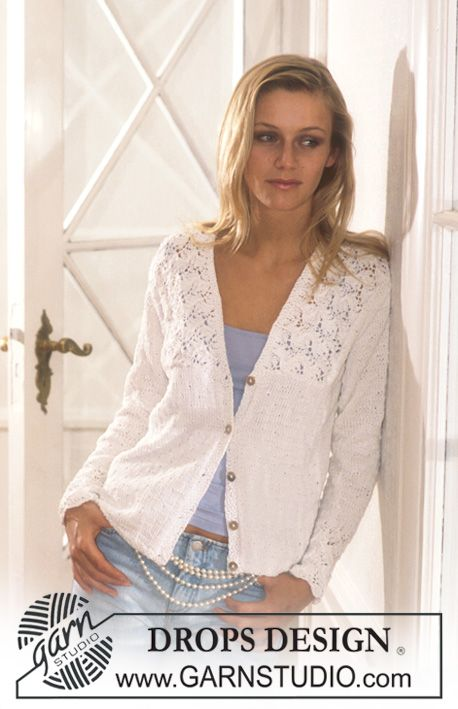 """Photo of DROPS jacket in """"nutmeg"""" with lace pattern on the collar and cuffs. ~ DROP …"""
