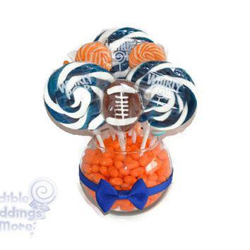 Small Football Lollipop Centerpiece, Sports Party, Centerpiece, Football Party, Team Party, Candy, Customizable, Edible, Birthday Party