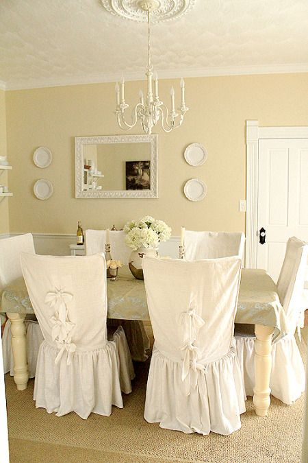 Slip Covers In White Cotton Duck Give The Dining Room A Fresh Spring Feel Driven B Dining Room Chair Slipcovers Slipcovers For Chairs Shabby Chic Dining Room