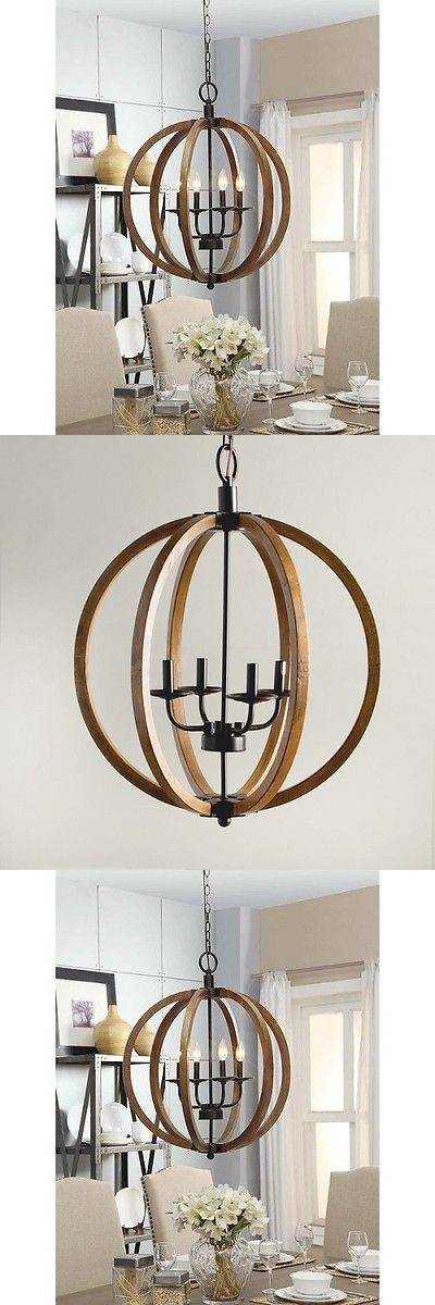 Chandeliers And Ceiling Fixtures 117503 Rustic Hanging Chandelier Industrial Style Light Fixture Orb Wood Dining