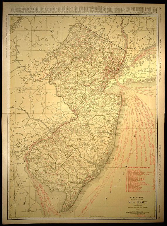 New Jersey Map EXTRA LARGE New Jersey Railroad Map Wall Art   Map ...