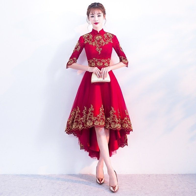 4a7187a29 Red Cheongsam Dress Sexy Lace Wedding Qipao Women Traditional Chinese New  Year Costume Oriental Style Evening Dresses Qi Pao