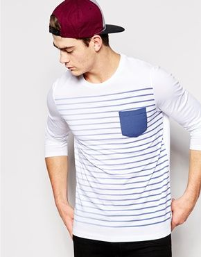 b962467f3bb9 ASOS Stripe Long Sleeve T-Shirt With Contrast Pocket