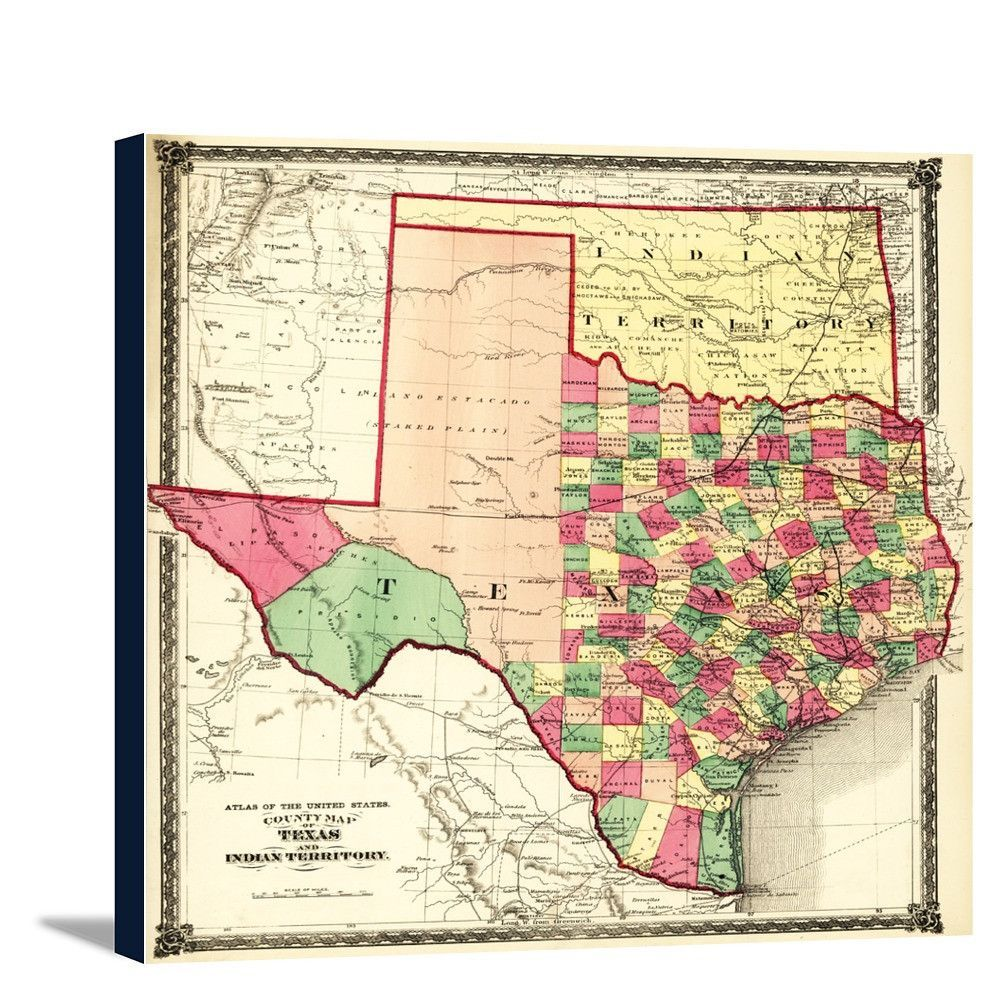 Texas and Indian Territory - (1875) - Panoramic Map