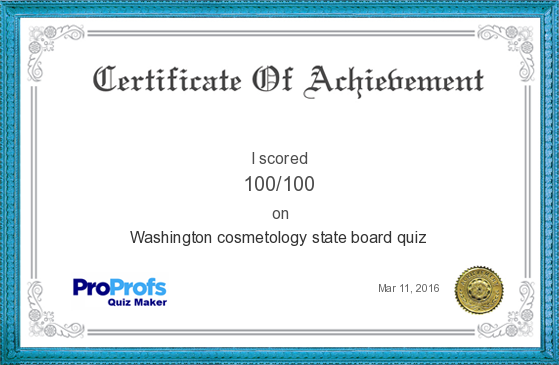 Score Report Washington cosmetology state board quiz at