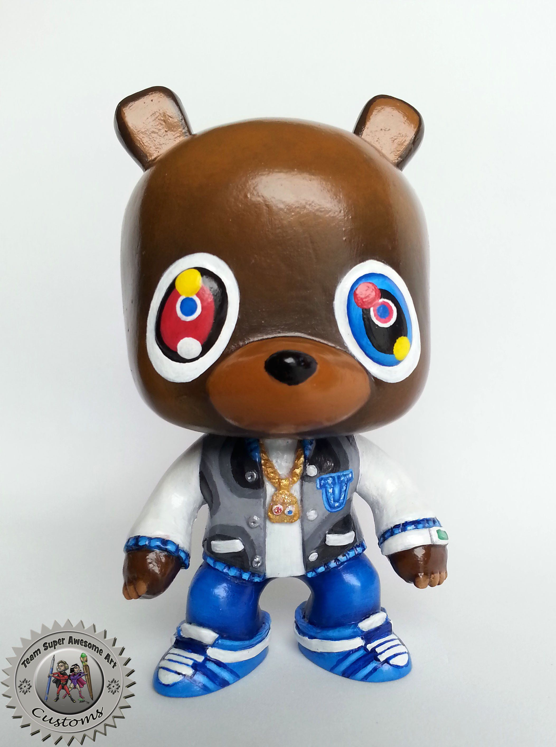 Grad Bear Resin Figure Custom Funko Pop Style Hand Made And Hand Painted Artwork Gradbear Kanyewest West Graduationbea Pop Art Art Music Geometric Art Diy