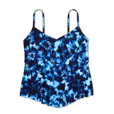 597e85b8a4d Women's Plus Size Tiered Tankini Top - Aqua Green? Tie Dye 16W #Tankini, # Top, #Tiered