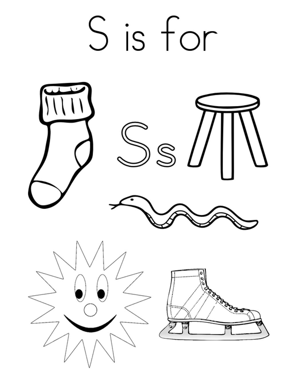 Words from s alphabet coloring page kindergarten activities