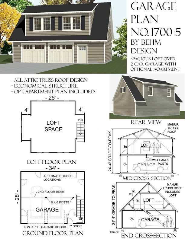 2 Car Garage With Loft Plan 1700 5 By Behm Design Loft Floor Plans Loft Plan Carriage House Plans