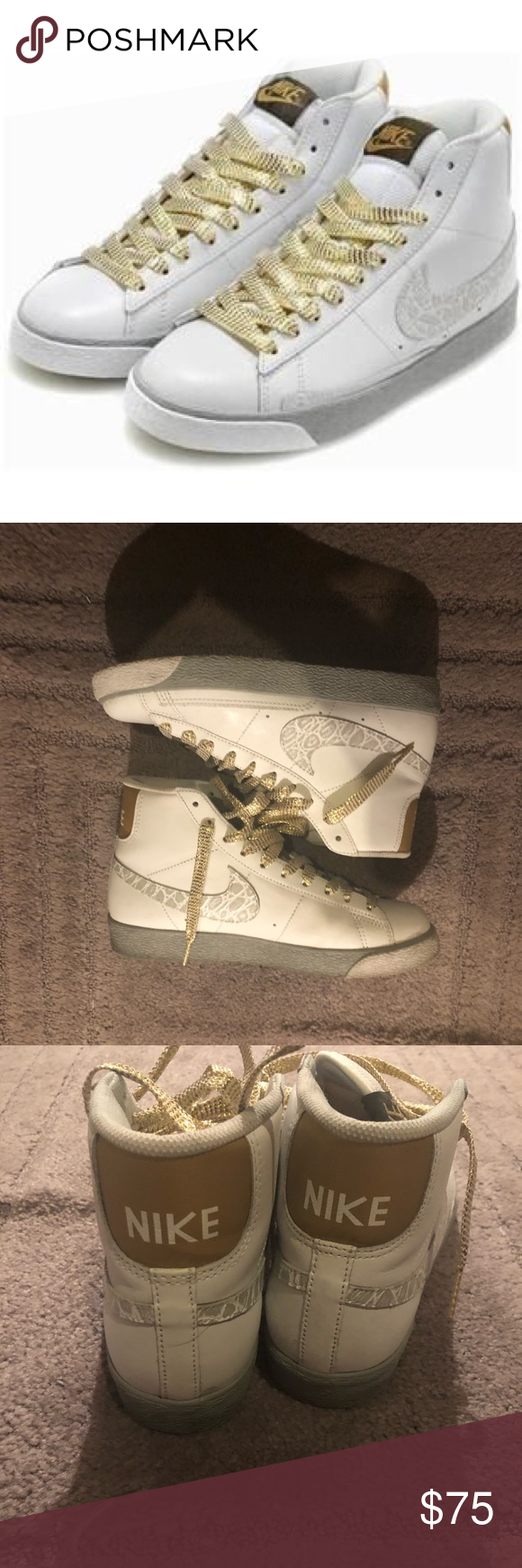 really cheap timeless design aliexpress Nike Blazer High Tops Gold/White Croc 10 years old still in ...