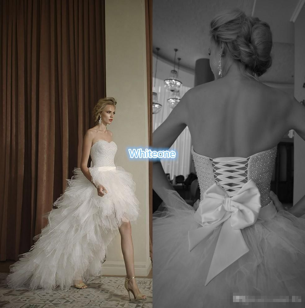 Discount beach wedding dresses hi lo wedding dress sweetheart corset