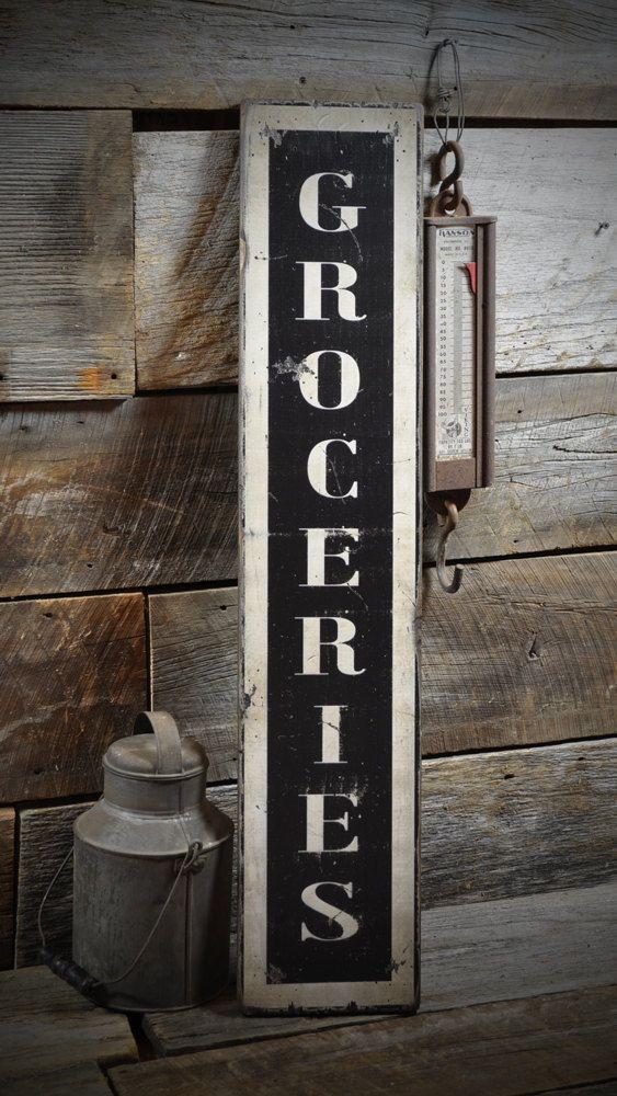 vertical groceries sign - primitive rustic hand made vintage