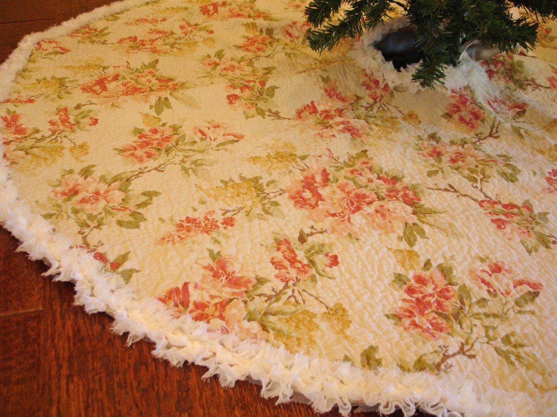 Cottage Chic Christmas Tree Skirt Romantic Floral Tree Skirt Shabby Chic Christmas English