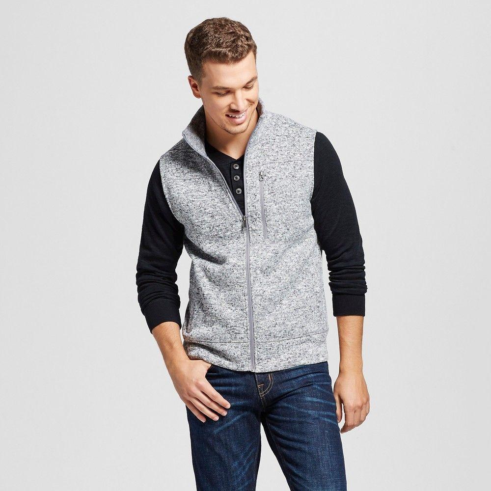 Men's Sweater Fleece Vest Gray Xxl - Merona | Cardigans For Men ...