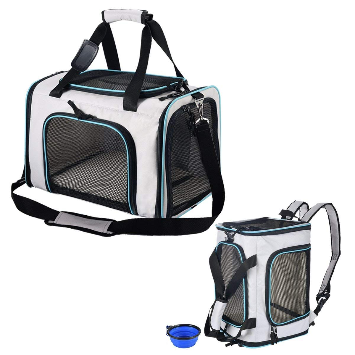 SHMEIQI Pet Carrier Backpack, Airline Approved Soft Sided