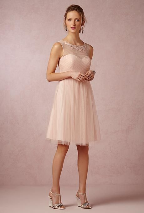 34022d7ec1e ... Bridal Party Guests Bridesmaids Dresses at BHLDN. A short blush  bridesmaid dress with an embellished illusion neckline