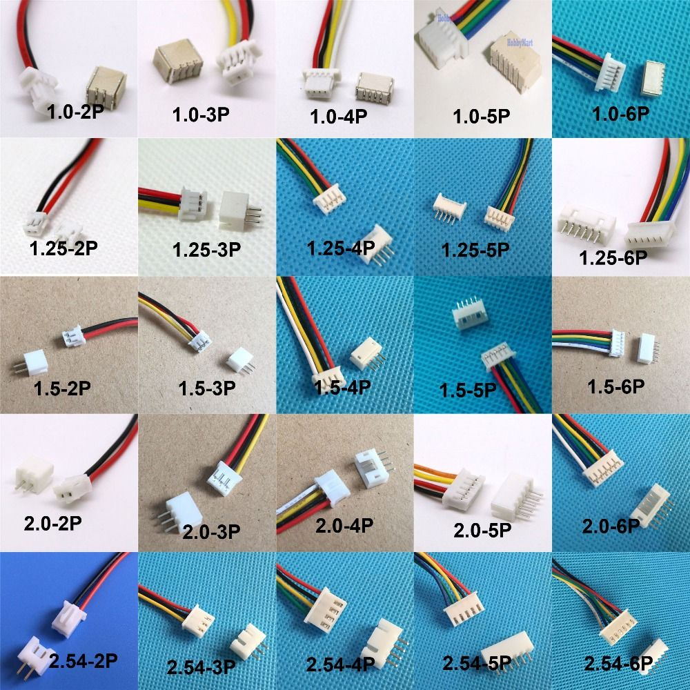 10sets 1.0mm 1.25mm 1.5mm 2.0 2.54mm 2/3/4/5/6 Pin Male Connector ...