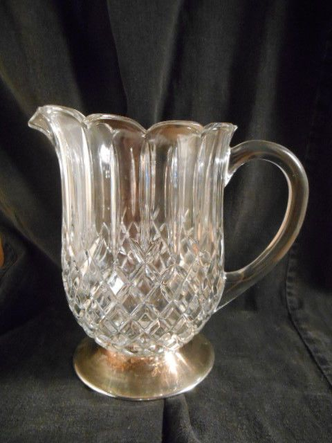 Vintage Diamond Pattern Glass 40oz Pitcher Metal Silverplate Base Crystal #unknown
