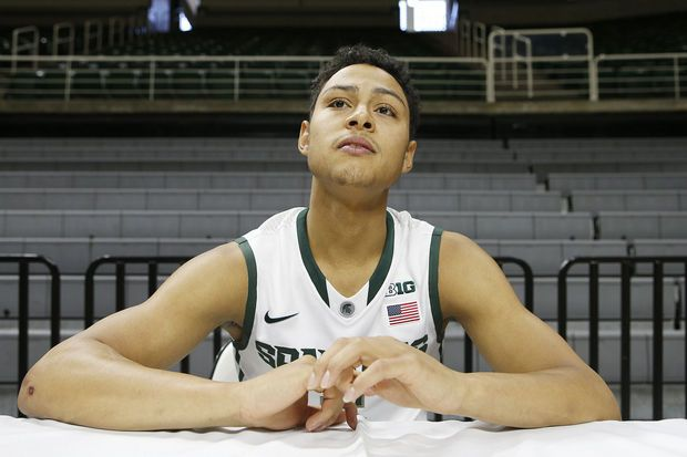 Bryn Forbes (5) talks with the media during Michigan State basketball's media day at the Breslin Center in East Lansing Tuesday, October 28, 2014. (Mike Mulholland | MLive.com)