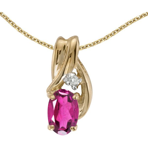 14k yellow gold oval pink topaz and diamond pendant chain not 605 ron liked on polyvore featuring jewelry pendants 14k gold jewelry diamond jewelry gold chain pendant diamond pendant jewelry and aloadofball Choice Image