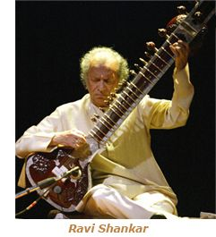 Print Art POSTER CANVAS Ravi Shankar Playing a Sitar