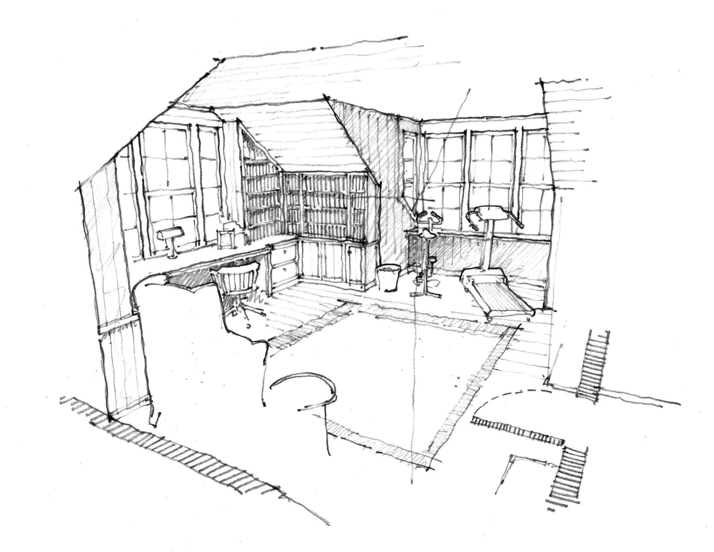 Hc interior perspective pencil interior perspective sketches produced for client to assist in visualization of space drawn over rough sketchup model