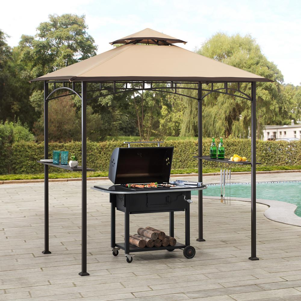 Sunjoy Deering 5 Ft X 8 Ft Brown Steel 2 Tier Grill Gazebo With Tan And Brown Canopy 169155 The Home Depot In 2020 Grill Gazebo Gazebo Gazebo Roof