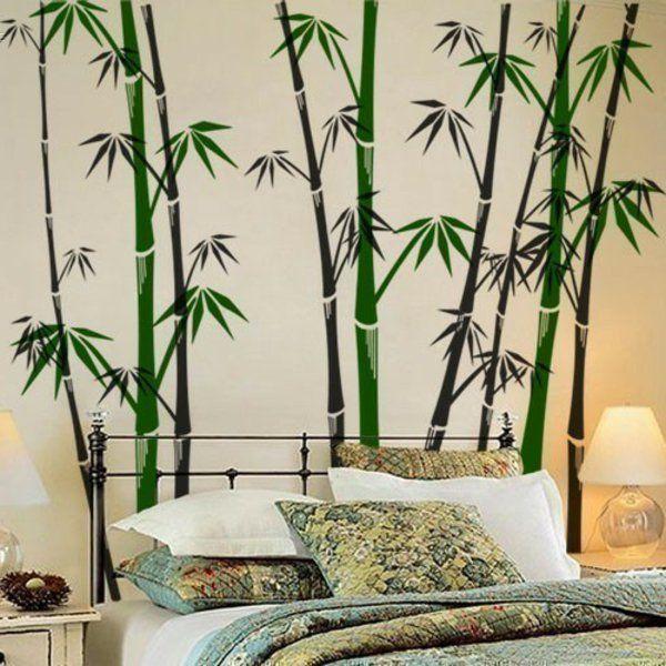 Wandmalerei Wohnzimmer Ideen: Modernes Wandtattoo - Wandgestaltung Trends 2014