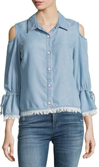 08c2e170cc816 Cold-Shoulder Button-Front Chambray Shirt Light Blue