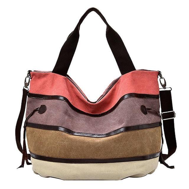 Women Large Capacity Canvas Letter Tote Messenger Handbag Zipper Shoulder Bag