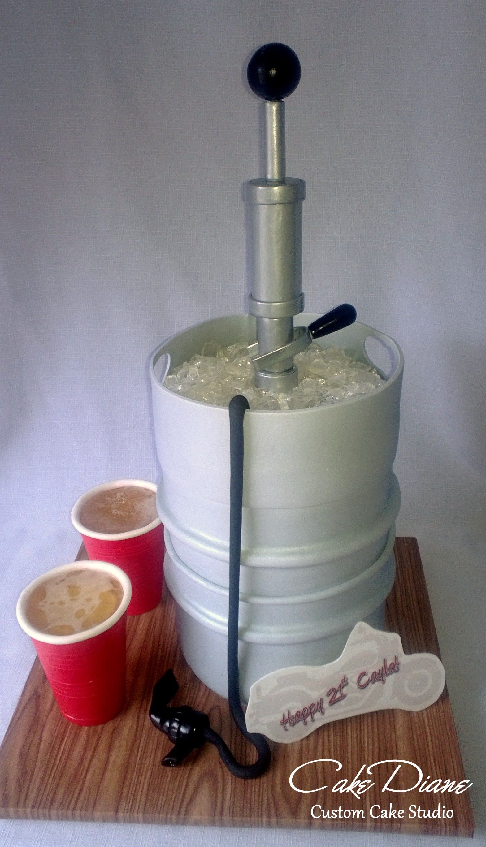 Beer Keg And Red Cups For A 21st Birthday Fondant