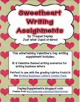 Business Letter Writing Scenarios And Prompts  Valentine Theme
