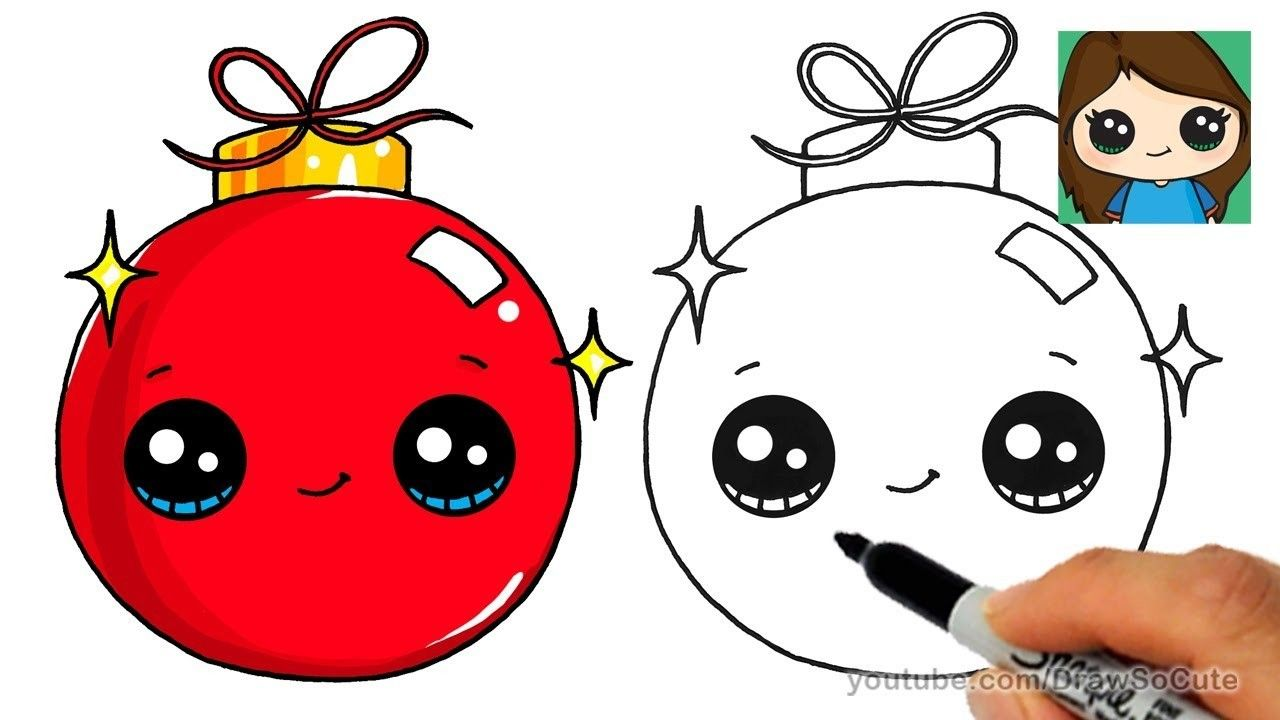 How To Draw A Christmas Ornament Easy And Cute Easy Christmas Drawings Christmas Drawing Christmas Pictures To Draw