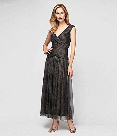 I Love This Dress Alex Evenings Metallic Portraitcollar Dress