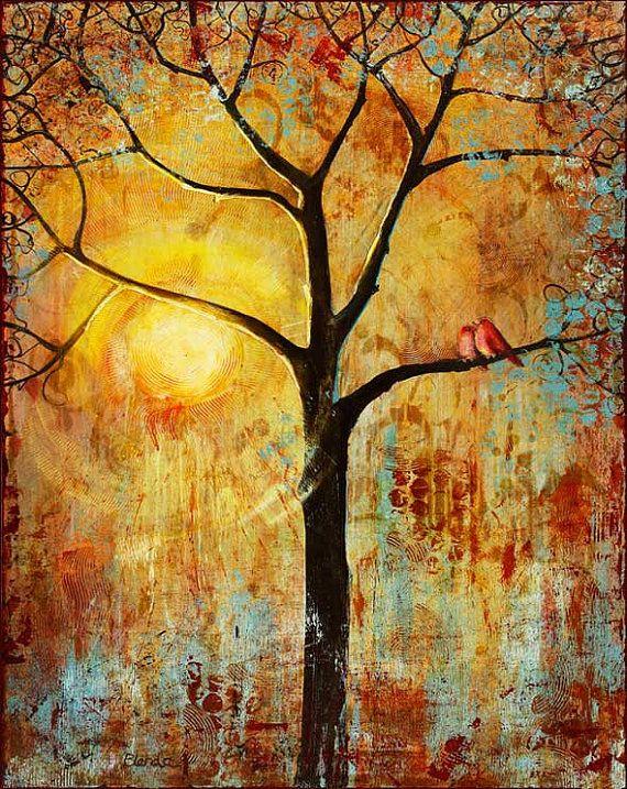 Birds Tree Print, Art, Large 13X19 Wall Decor, Sunset, Love Birds ...