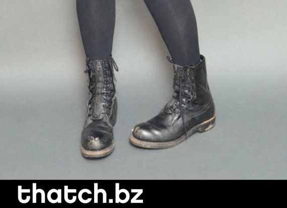 Grunge Black Combat Boots Great Detail Lace Up & by ThatchVintage, $38.00