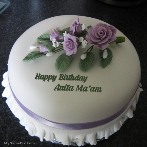 The Name Anita Maam Is Generated On Icecream Rose Birthday Cake With Name Image Downl Happy Birthday Cake Writing Happy Birthday Cakes Birthday Cake Writing