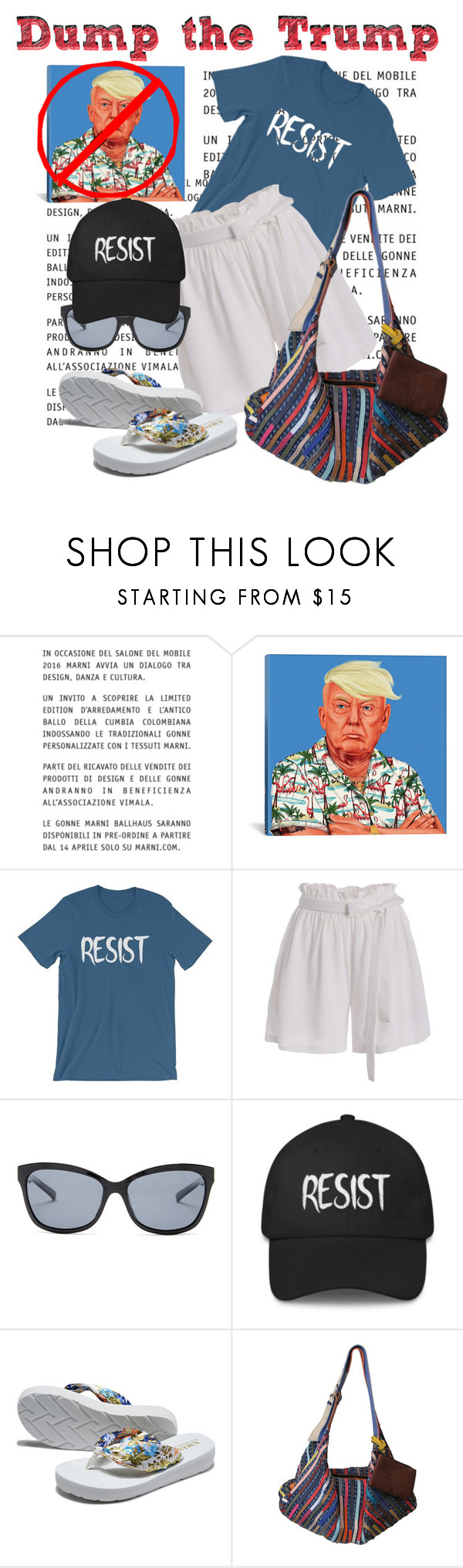 """""""Dump the Trump"""" by daincyng ❤ liked on Polyvore featuring Marni, iCanvas, Cole Haan, AmeriLeather and resistance"""