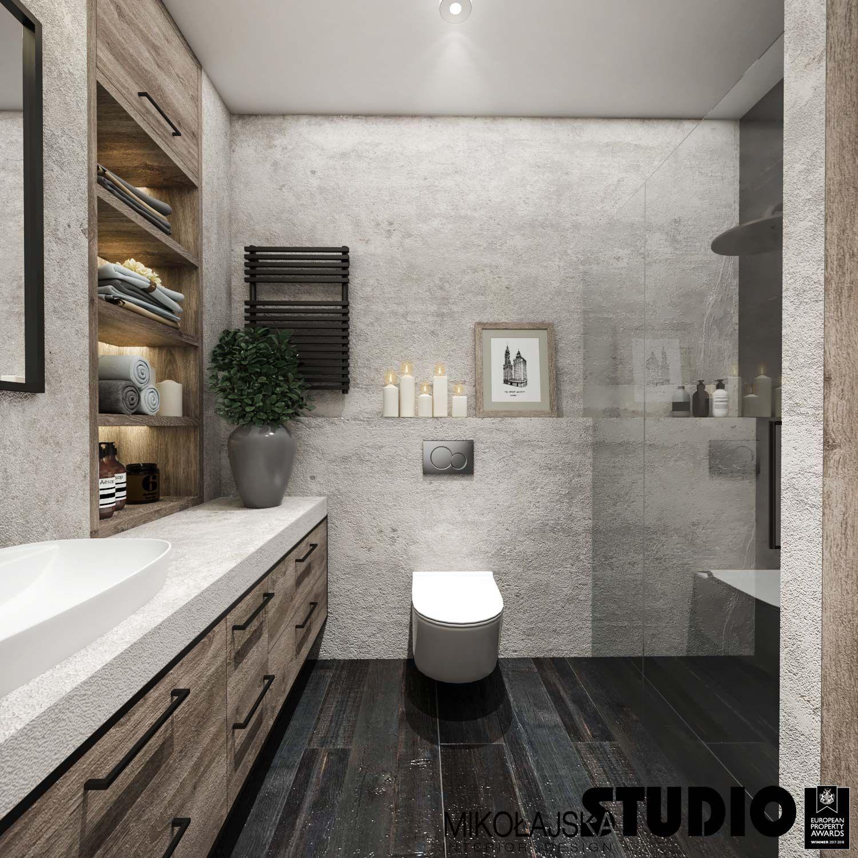 Szuflady Ciemna Podloga Betonowe Sciany Czarny Grzejnik Prysznic Modern Minimalist Minimalist Design Interior Design