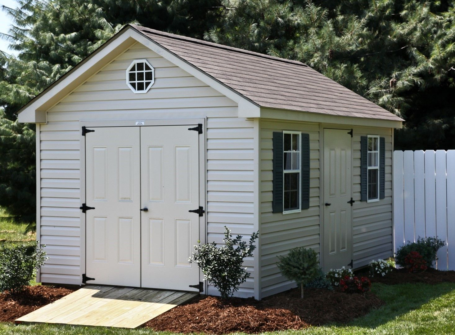 10x14 Vinyl Cottage Shingles 3 Doors Gable Roof Shed Shed Plans Diy Shed Plans Building A Shed
