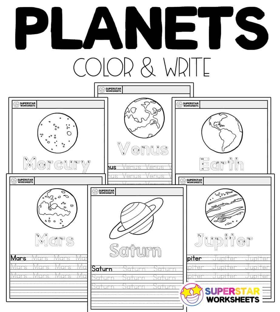 Free Color And Write Planet Printables And Worksheets You Can Use To Teach Your Children Al Kindergarten Worksheets Spelling And Handwriting Writing Worksheets
