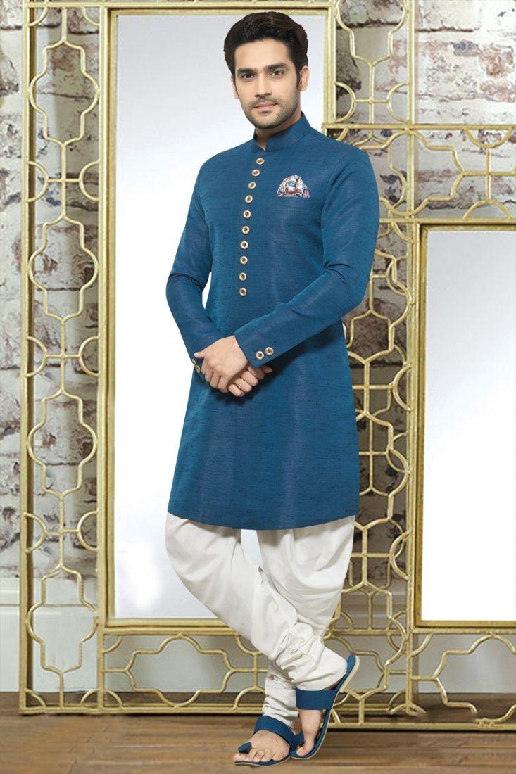 Creative teal colour mens indo western suit handsome pinterest