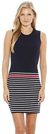 Christian Siriano New York Bodycon Dress / Women Dresses Casual  Color: Navy with Red and White Stripe  45% polyester ANCHORS AWEIGH - Straight from the Runway to your closet SLEEK & CHIC - Stand out in the crowd in this flattering minimalistic stripe dress SUMMER STAPLE! - This dress will be your go-to this summer, a perfect dress for a day around town COOL & CASUAL - The lightweight ponte fabric is sure to keep you cool on those hot summer days THE DETAILS! -These sundresses are compo