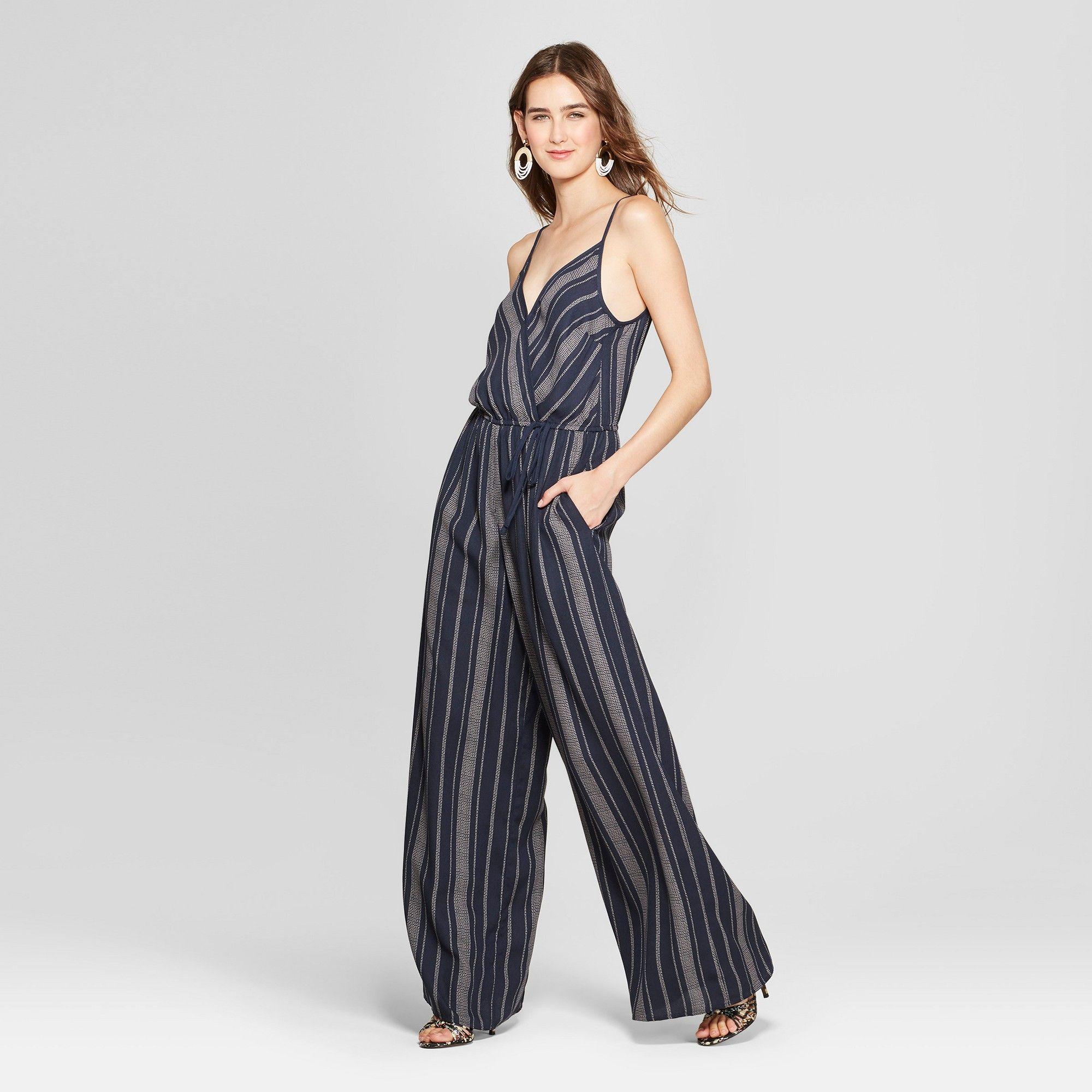 09d28a3af3c Women s Strappy Striped Wrap Jumpsuit - Xhilaration Navy Ivory Xxl ...