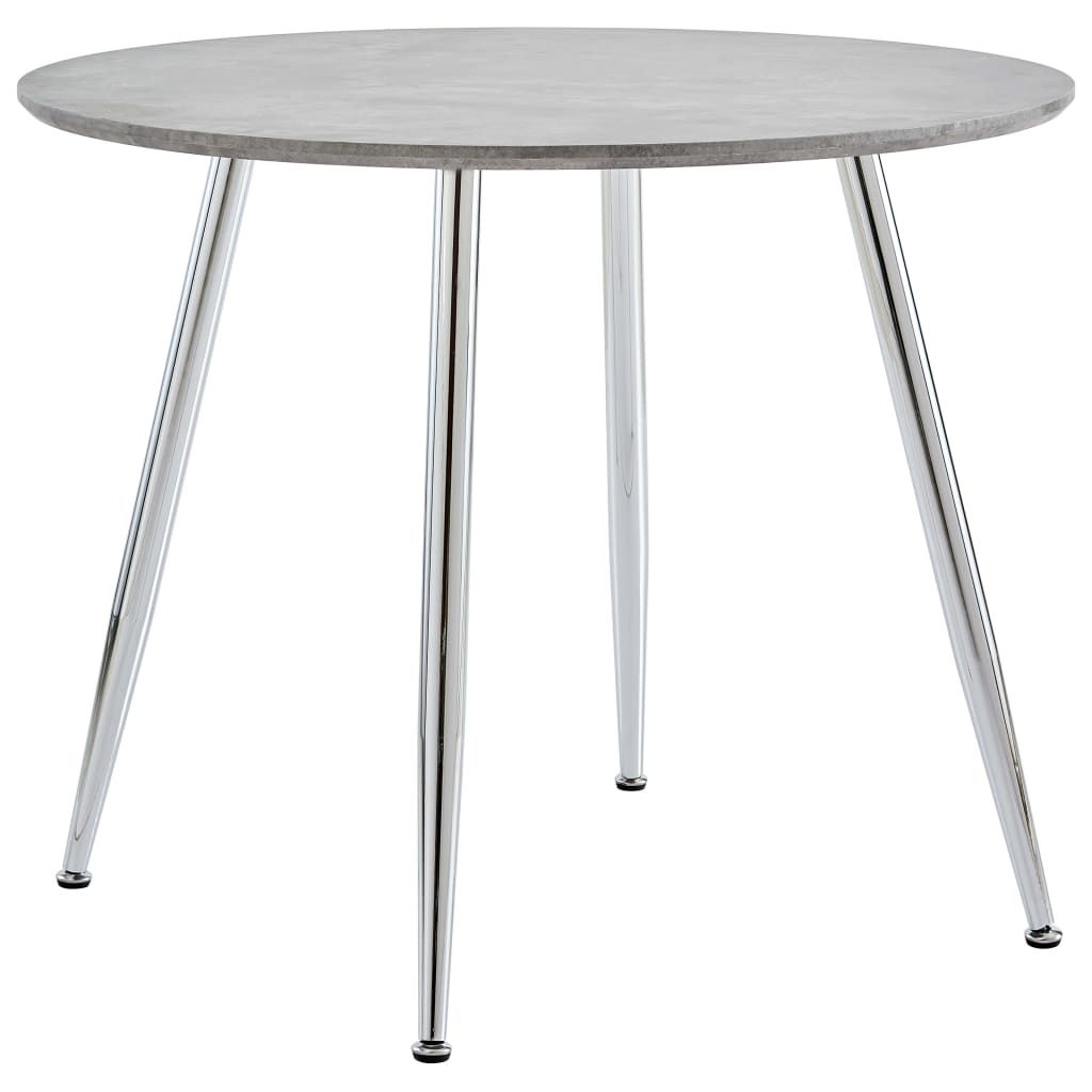 vidaXL Dining Table Concrete and Silver 35.4