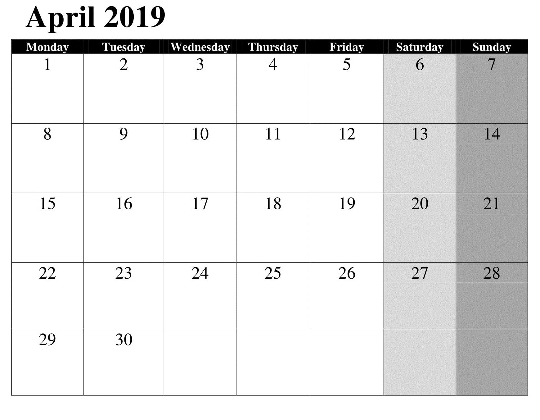 April Google Calendar Template 2019 | Calendar April 2019