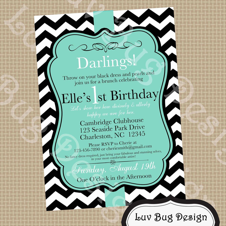 Gmail birthday theme - Printable Tiffany Blue Themed Birthday Party Invite Diy Printable Party Invitation By Luv Bug Design