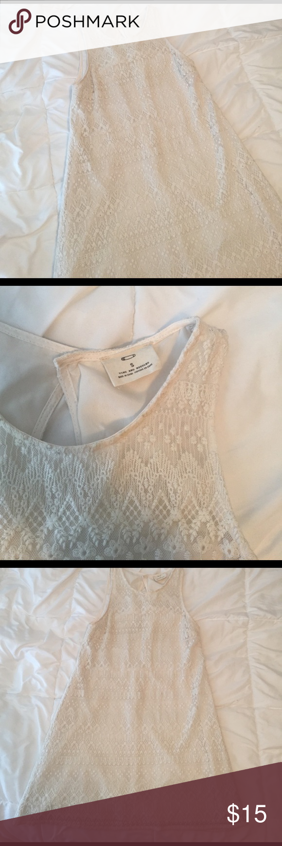 🆕 Urban outfitters white lace dress size small Pins and needles label, would at urban outfitters size small white lace dress. Sleeveless with keyhole cut out at the back. Feed is fully lined. Very pretty and great for spring! Urban Outfitters Dresses