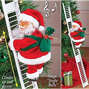 QBQCBB Electric Climbing Beads Ladder Santa ECommerce Flannel Festival Doll Toy Electric Climbing Santa Christmas Decoration LawnGarden FurnitureAccessories LawnGarden Se...