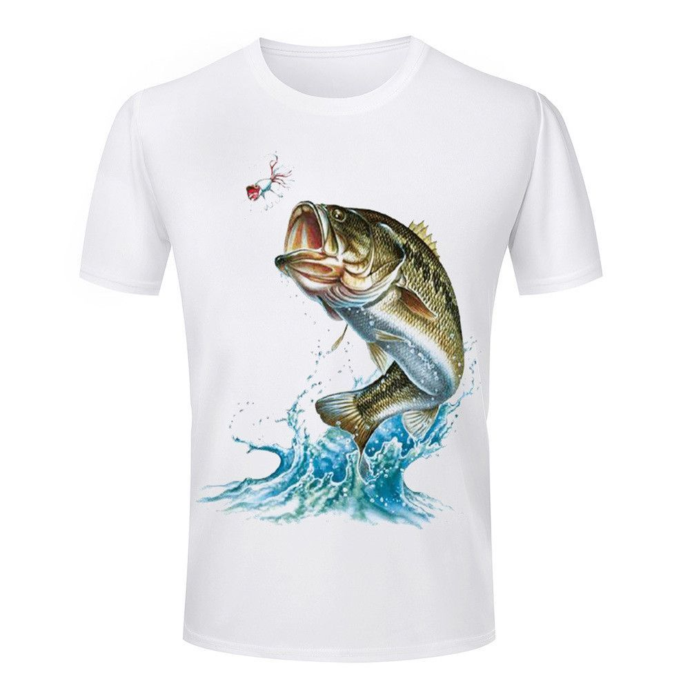 Cheap Hot Selling Men's T Shirts 3d fish Animal Printed Round Neck Shirts Summer Style Clothes casual short sleeve Man